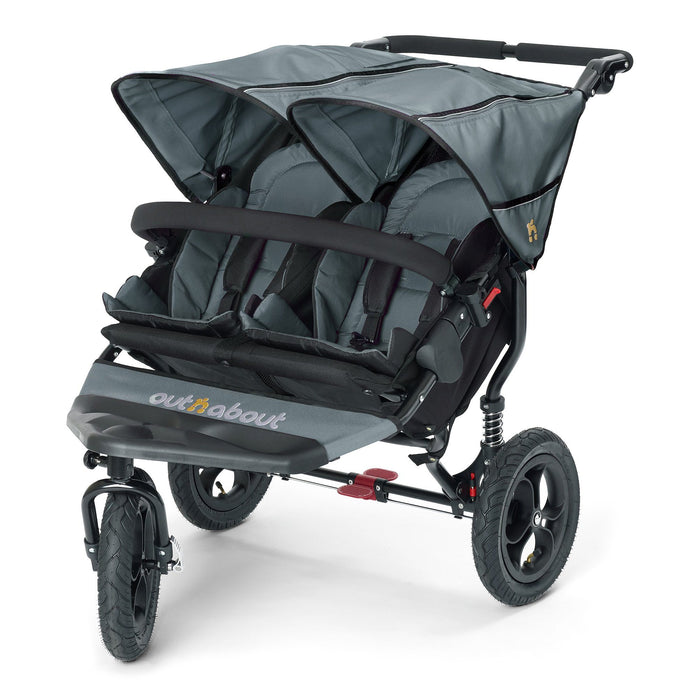 Out'n'About Nipper Double V4 Steel Grey - Pushchair Expert