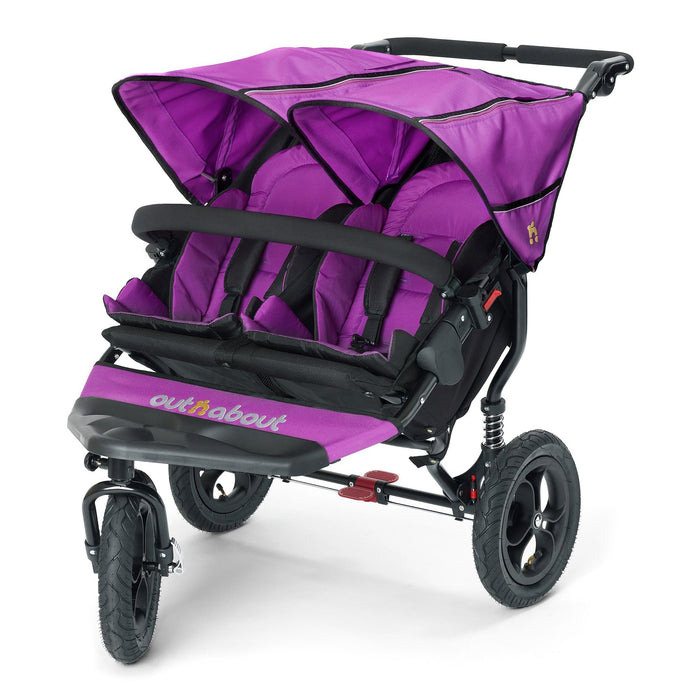 Out'n'About Nipper Double V4 Purple Punch - Pushchair Expert