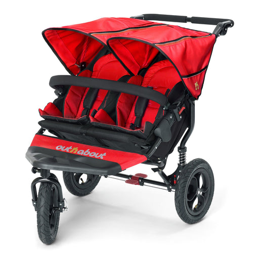 Out'n'About Nipper Double V4 Carnival Red - Pushchair Expert