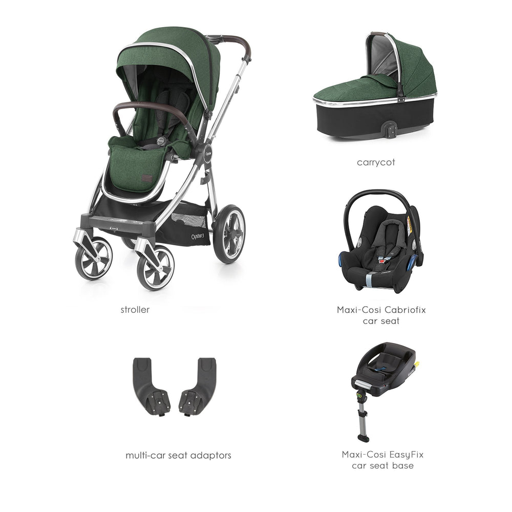 BabyStyle Oyster 3 Alpine Green Essential Bundle with Maxi-Cosi Cabriofix - Pushchair Expert