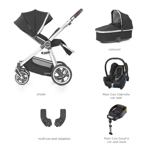 BabyStyle Oyster 3 Caviar (Mirror Chassis) Essential Bundle with Maxi-Cosi Cabriofix - Pushchair Expert