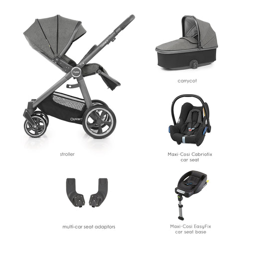 BabyStyle Oyster 3 Mercury (City Grey Chassis) Essential Bundle with Maxi-Cosi Cabriofix