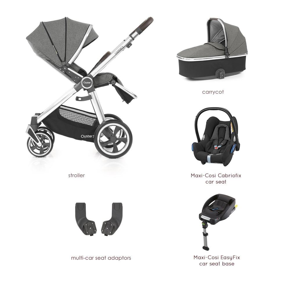 BabyStyle Oyster 3 Mercury (Mirror Chassis) Essential Bundle with Maxi-Cosi Cabriofix - Pushchair Expert