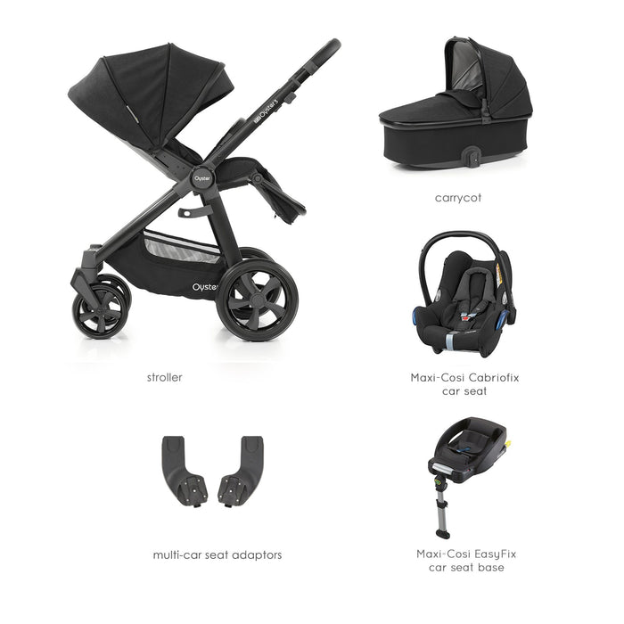 BabyStyle Oyster 3 Noir Essential Bundle with Maxi-Cosi Cabriofix - Pushchair Expert