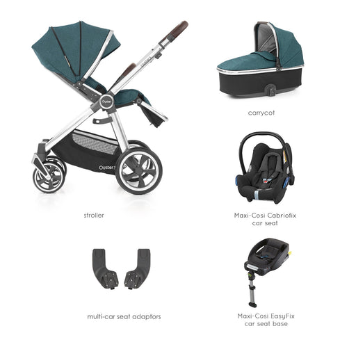 BabyStyle Oyster 3 Peacock Essential Bundle with Maxi-Cosi Cabriofix - Pushchair Expert