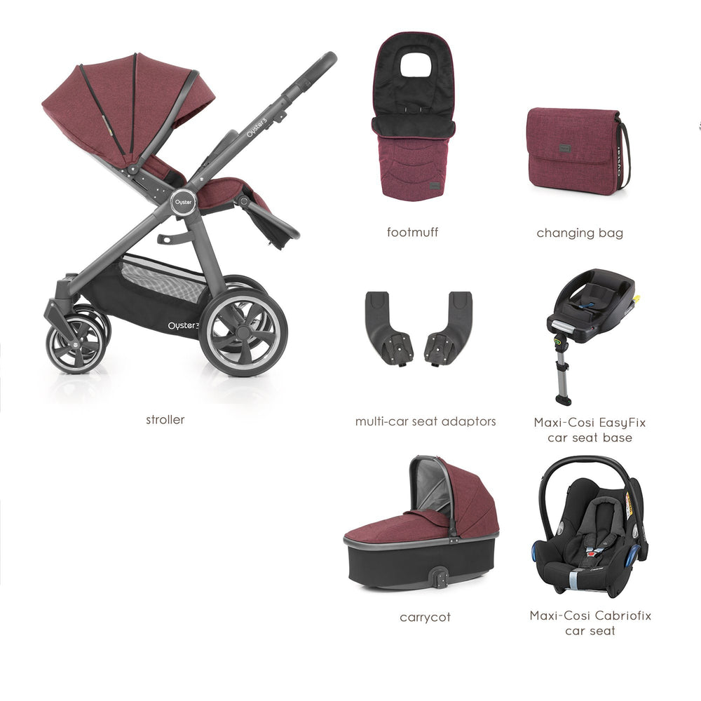 BabyStyle Oyster 3 Berry Luxury Bundle with Maxi-Cosi Cabriofix - Pushchair Expert