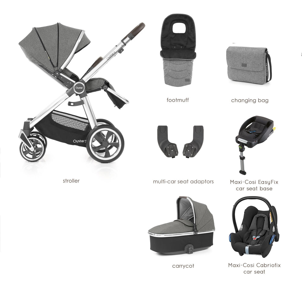 BabyStyle Oyster 3 Mercury (Mirror Chassis) Luxury Bundle with Maxi-Cosi Cabriofix