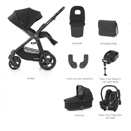 BabyStyle Oyster 3 Noir Luxury Bundle with Maxi-Cosi Cabriofix - Pushchair Expert