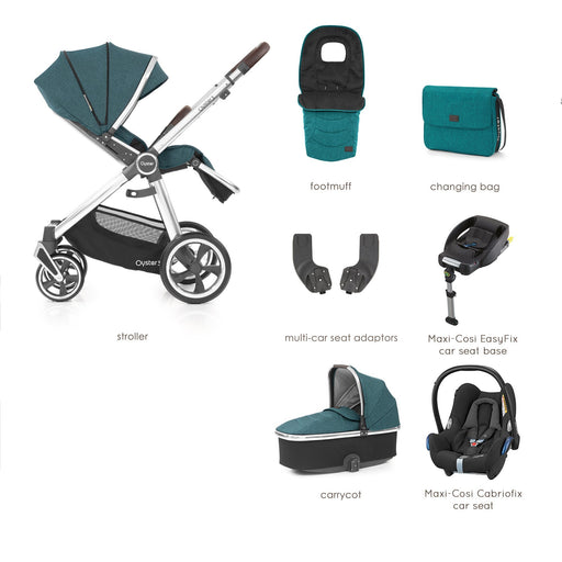 BabyStyle Oyster 3 Peacock Luxury Bundle with Maxi-Cosi Cabriofix - Pushchair Expert