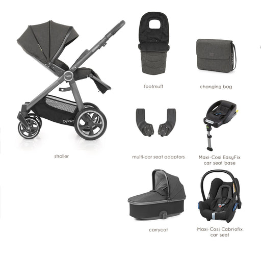 BabyStyle Oyster 3 Pepper Luxury Bundle with Maxi-Cosi Cabriofix - Pushchair Expert