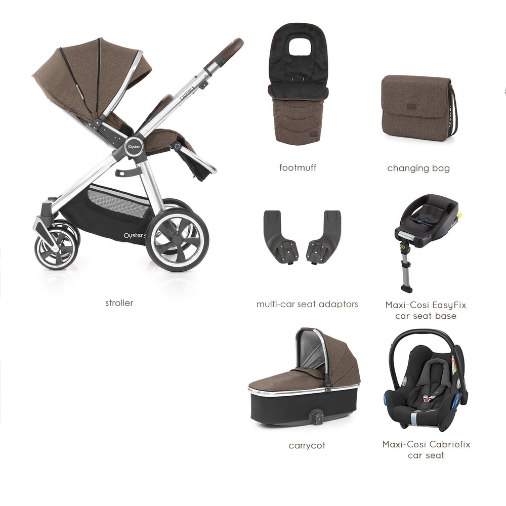 BabyStyle Oyster 3 Truffle Luxury Bundle with Maxi-Cosi Cabriofix - Pushchair Expert