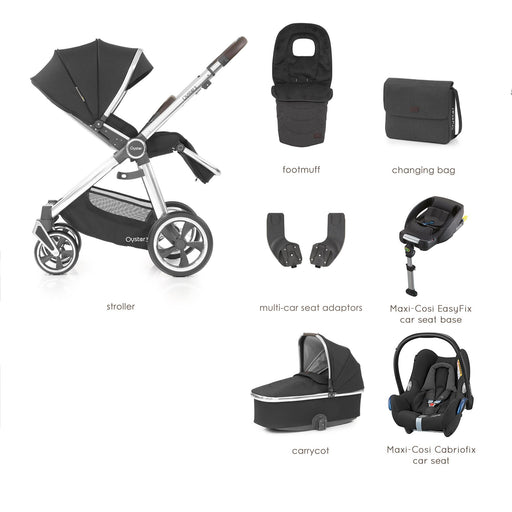 BabyStyle Oyster 3 Caviar (Mirror Chassis) Luxury Bundle with Maxi-Cosi Cabriofix - Pushchair Expert