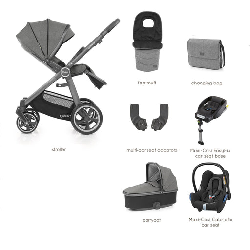 BabyStyle Oyster 3 Mercury (City Grey Chassis) Luxury Bundle with Maxi-Cosi Cabriofix - Pushchair Expert
