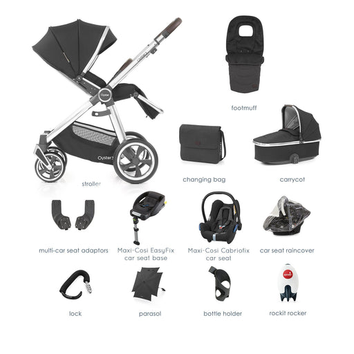 BabyStyle Oyster 3 Caviar (Mirror Chassis) Ultimate Bundle with Maxi-Cosi Cabriofix - Pushchair Expert