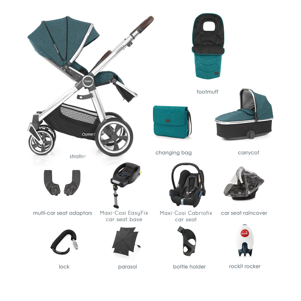 BabyStyle Oyster 3 Peacock Ultimate Bundle with Maxi-Cosi Cabriofix - Pushchair Expert
