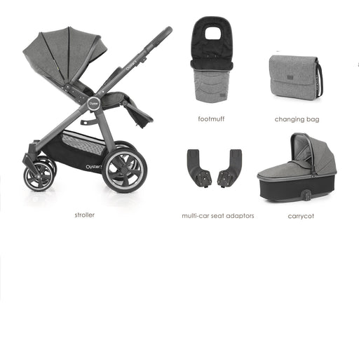 BabyStyle Oyster 3 Mercury (City Grey Chassis) 5-piece Bundle - Pushchair Expert