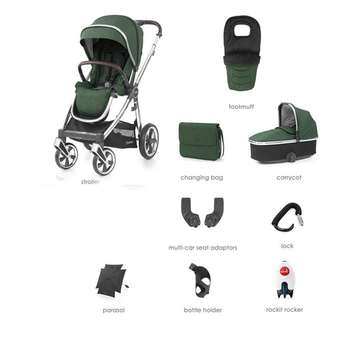 BabyStyle Oyster 3 Alpine Green 9-piece Bundle - Pushchair Expert