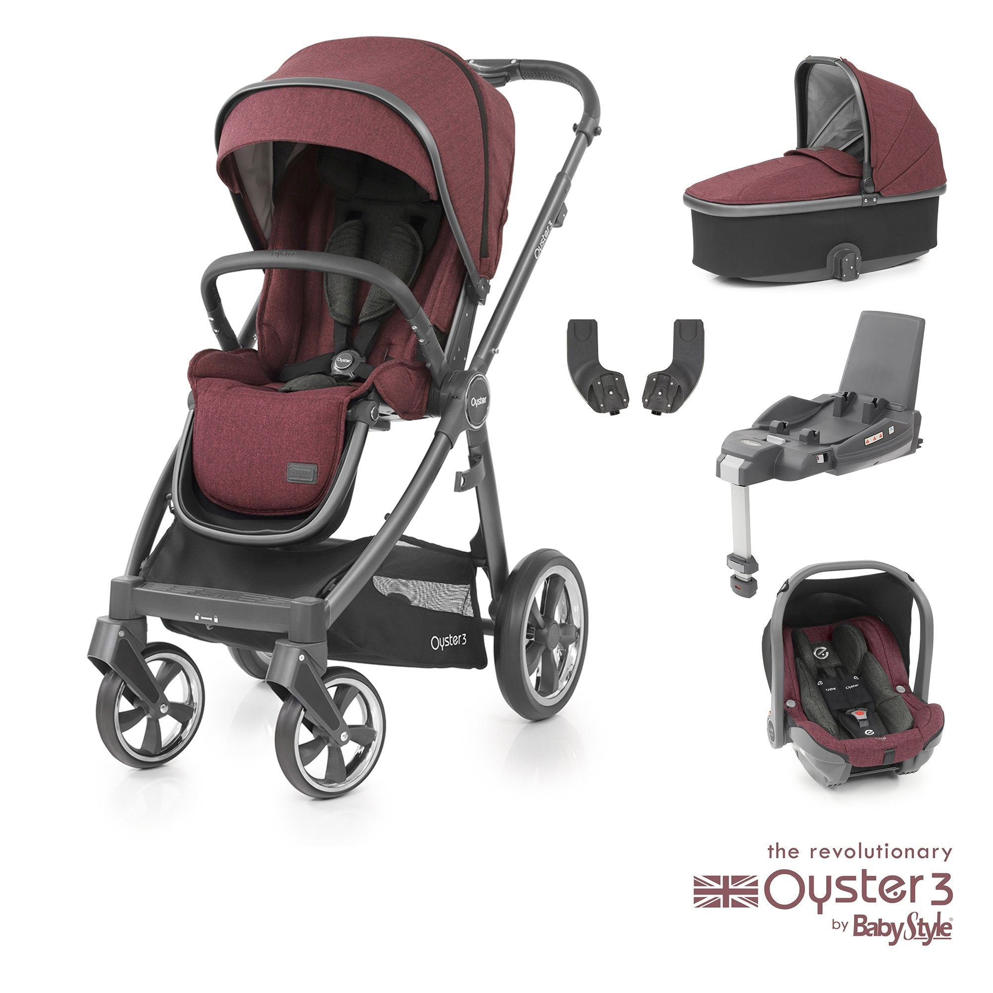BabyStyle Oyster 3 Essential Bundle - Berry
