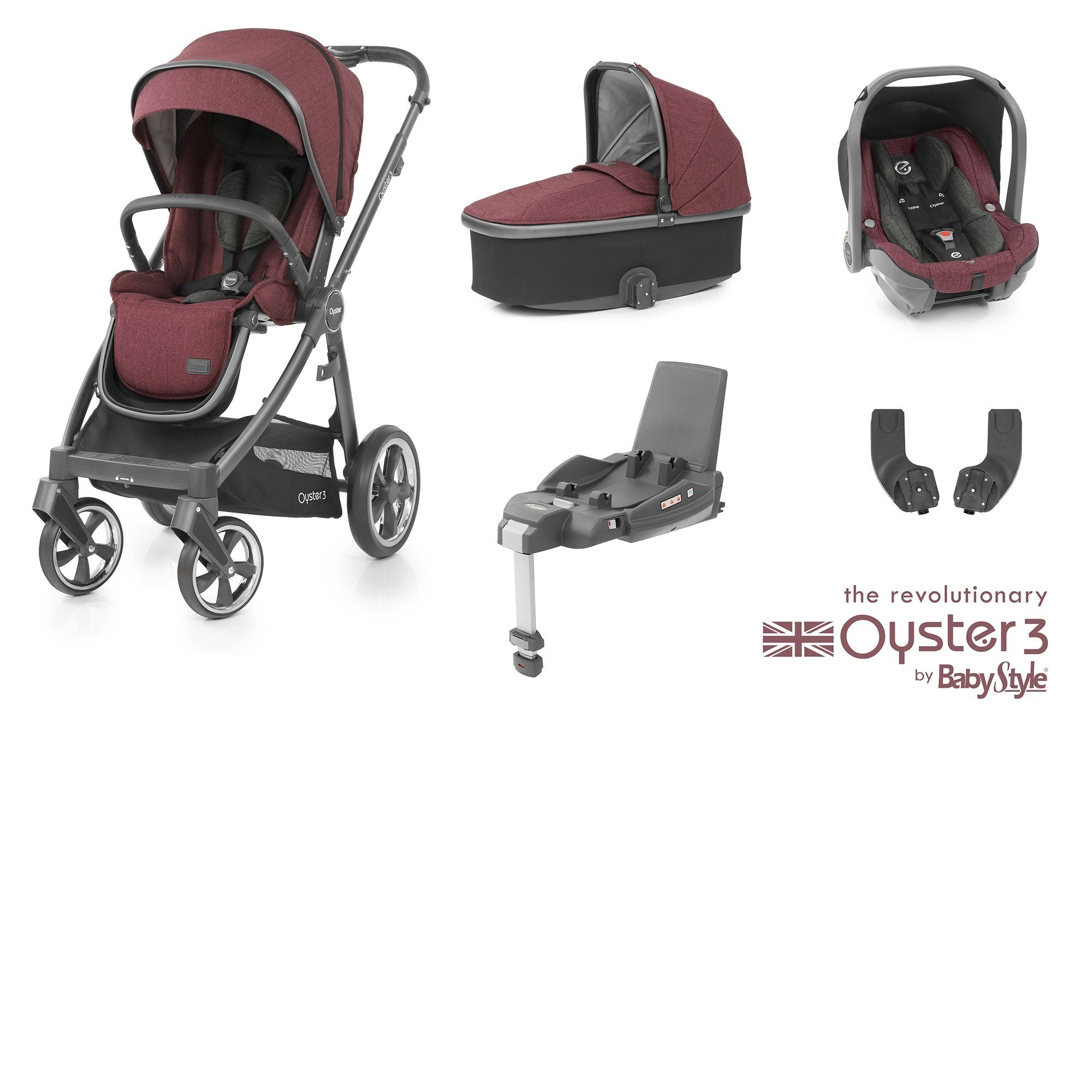 BabyStyle Oyster 3 Essential Bundle - Berry - Pushchair Expert