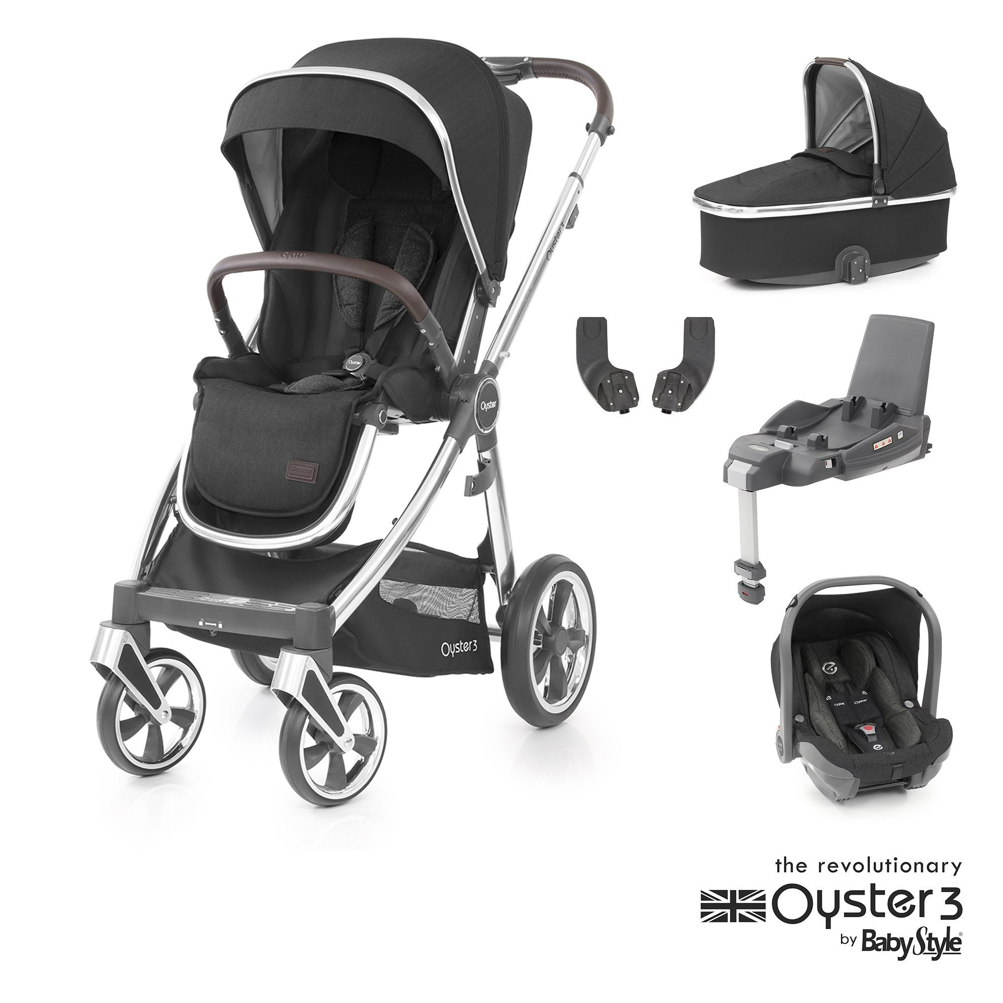 BabyStyle Oyster 3 Essential Bundle - Caviar (Mirror chassis)