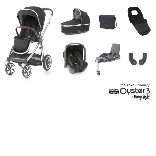 BabyStyle Oyster 3 Luxury Bundle - Caviar (Mirror chassis) - Pushchair Expert
