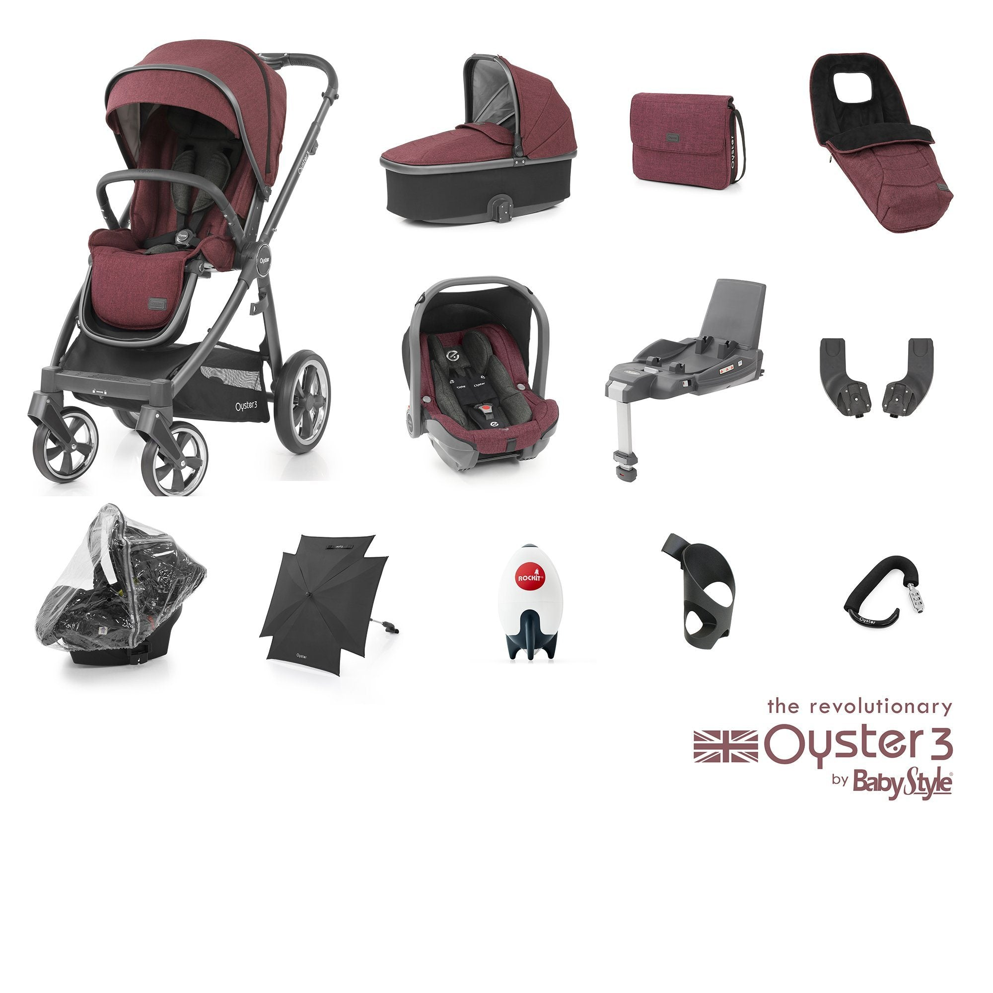 BabyStyle Oyster 3 Ultimate Bundle - Berry - Pushchair Expert