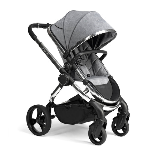 iCandy Peach travel system with i-Size car seat and ISOFIX base - Chrome/Light Grey Check