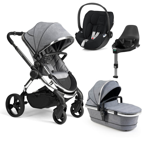 iCandy Peach travel system bundle with Cybex Cloud Z - Chrome/Light Grey Check