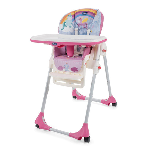 Chicco Polly Easy 4 Wheel Highchair - Unicorn - Pushchair Expert