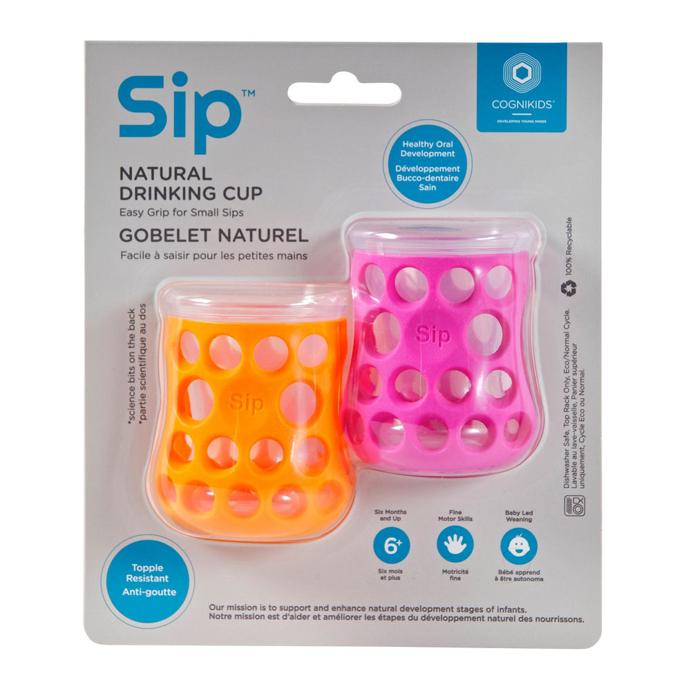 Cognikids Sip Natural Drinking Cup 2-pack - Tangerine/Flamingo