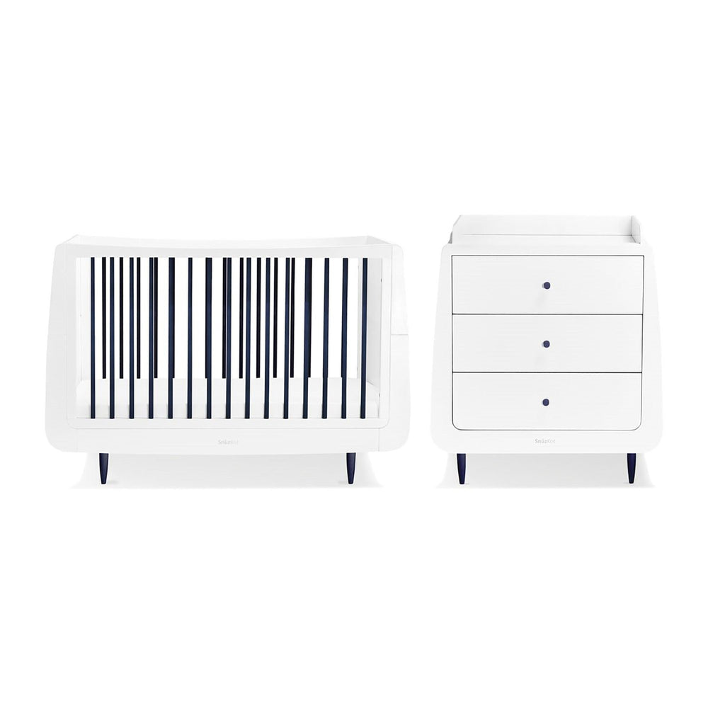 SnuzKot Skandi 2 Piece Nursery Furniture Set – Metallics Navy