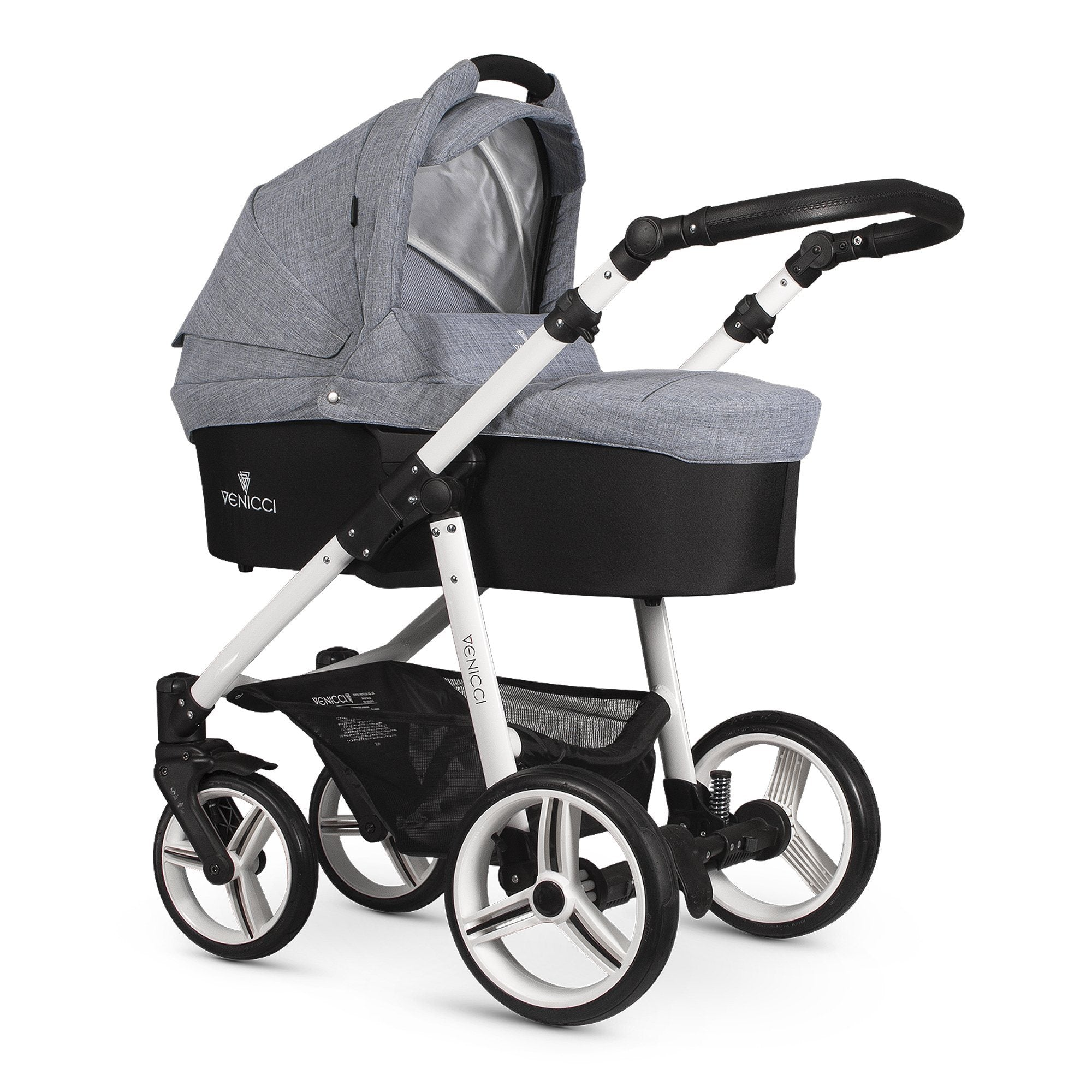 Venicci Soft 2-in-1 White Chassis - Med Grey - Pushchair Expert