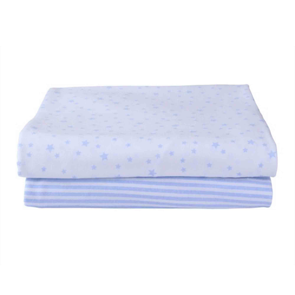Clair de Lune Stars & Stripes 2 Pack Fitted Sheets for Pram/Crib - Blue - Pushchair Expert