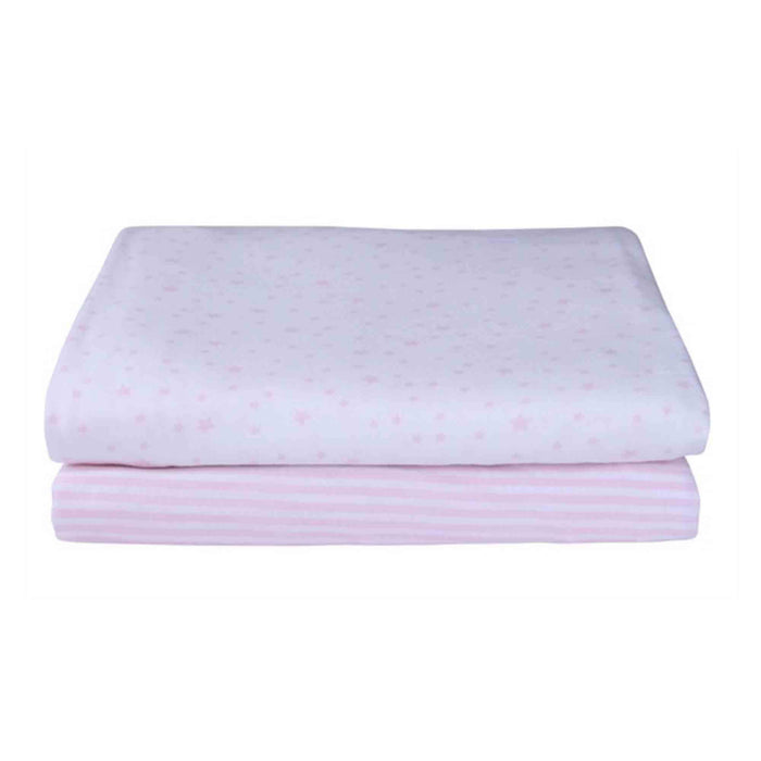 Clair de Lune Stars & Stripes 2 Pack Fitted Sheets for Pram/Crib - Pink - Pushchair Expert