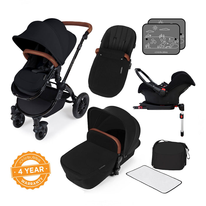 Ickle Bubba Stomp V3 Travel System with ISOFIX Base - Black on Black - Pushchair Expert