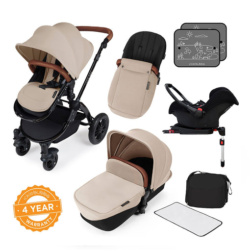 Ickle Bubba Stomp V3 Travel System with ISOFIX Base - Sand on Black - Pushchair Expert