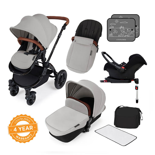 Ickle Bubba Stomp V3 Travel System with ISOFIX Base - Silver on Black - Pushchair Expert