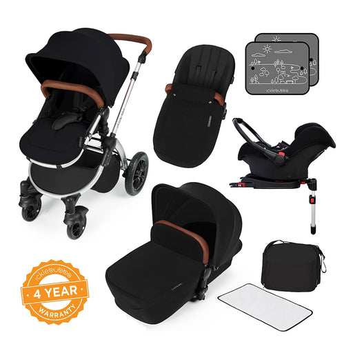 Ickle Bubba Stomp V3 Travel System with ISOFIX Base - Black on Silver