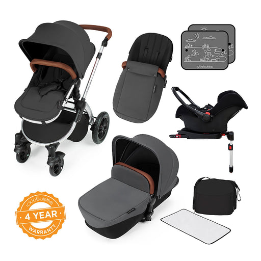 Ickle Bubba Stomp V3 Travel System with ISOFIX Base - Graphite Grey on Silver - Pushchair Expert
