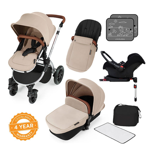 Ickle Bubba Stomp V3 Travel System with ISOFIX Base - Sand on Silver - Pushchair Expert