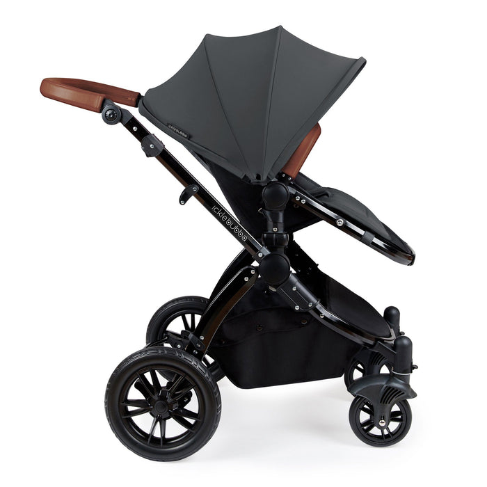 Ickle Bubba Stomp V3 Travel System with ISOFIX Base - Graphite Grey on Black - Pushchair Expert