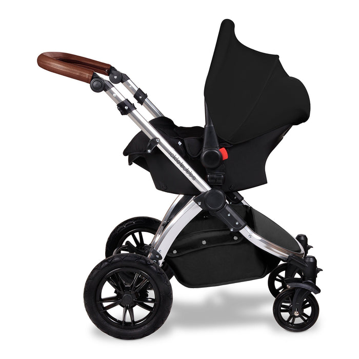 Ickle Bubba Stomp V3 i-Size Travel System with ISOFIX Base - Black on Silver - Pushchair Expert