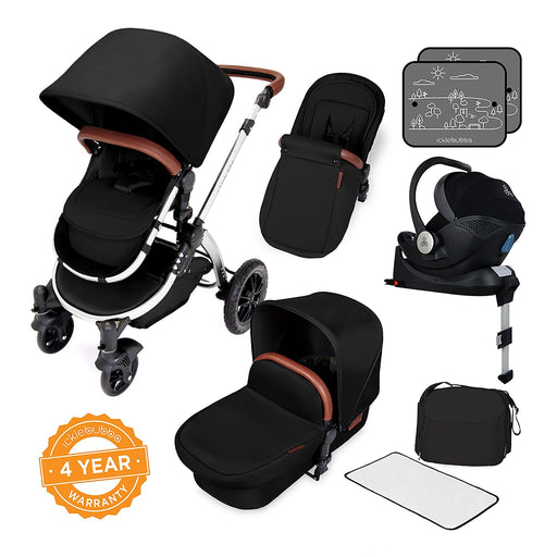 Ickle Bubba Stomp V4 Special Edition i-Size Travel System with ISOFIX Base - Midnight/Chrome - Pushchair Expert