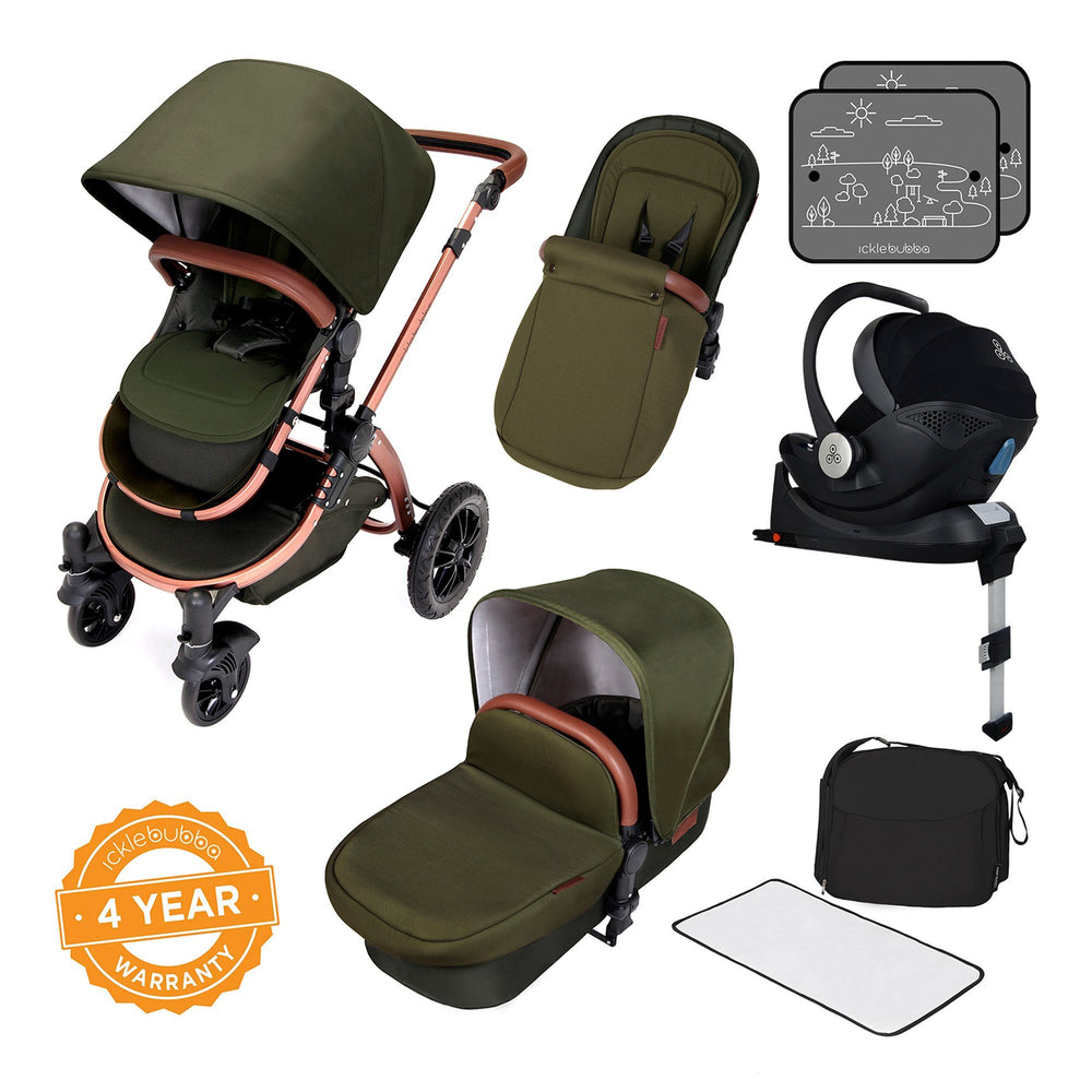 Ickle Bubba Stomp V4 Special Edition i-Size Travel System with ISOFIX Base - Woodland/Bronze - Pushchair Expert