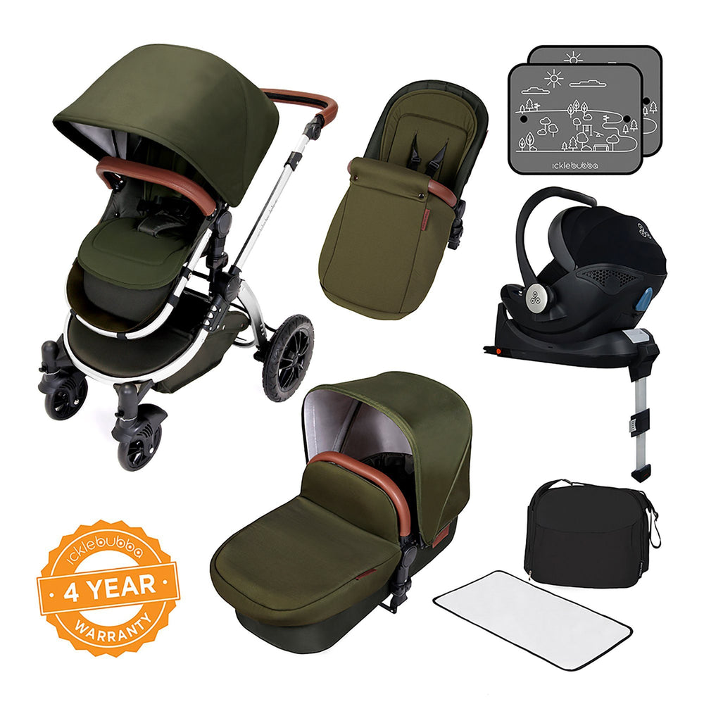 Ickle Bubba Stomp V4 Special Edition i-Size Travel System with ISOFIX Base - Woodland/Chrome - Pushchair Expert