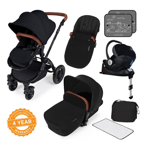 Ickle Bubba Stomp V3 i-Size Travel System with ISOFIX Base - Black on Black