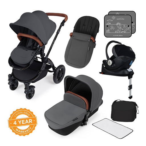 Ickle Bubba Stomp V3 i-Size Travel System with ISOFIX Base - Graphite Grey on Black - Pushchair Expert