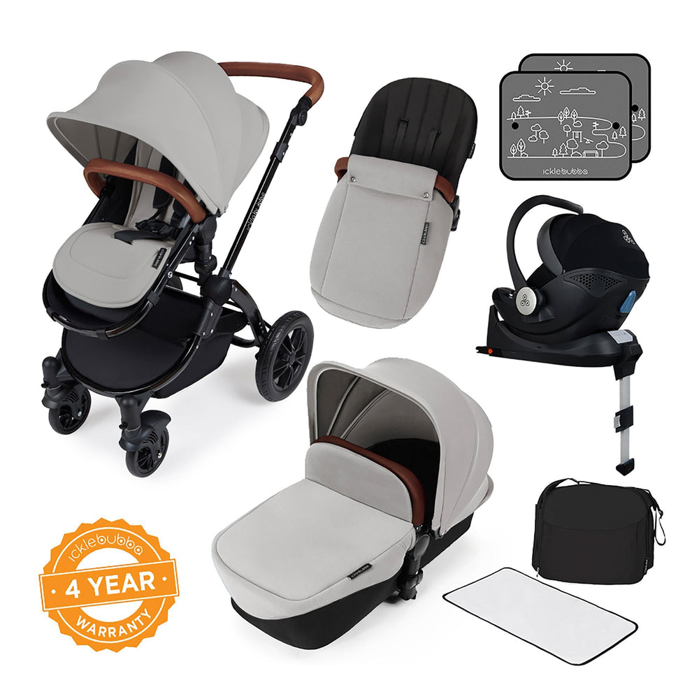 Ickle Bubba Stomp V3 i-Size Travel System with ISOFIX Base - Silver on Black