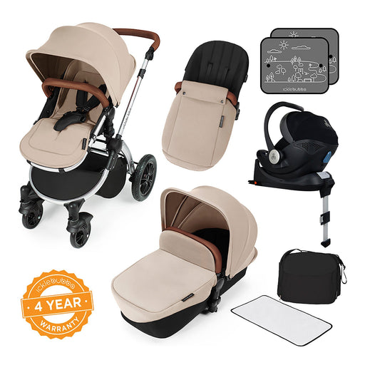 Ickle Bubba Stomp V3 i-Size Travel System with ISOFIX Base - Sand on Silver - Pushchair Expert