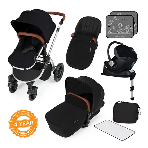 Ickle Bubba Stomp V3 i-Size Travel System with ISOFIX Base - Black on Silver